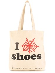 Charlotte Olympia 'I Shoes' Shopping Tote Nude And Neutrals