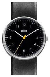 Men's Braun 'Classic' Leather Strap Watch 38Mm
