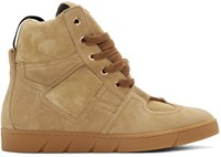Loewe Camel Suede High Top Sneakers