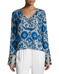 Foundrae Long Sleeve Printed Chiffon Henley Top Blue