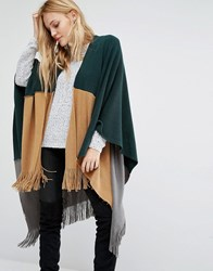 Y.A.S Mila Knitted Poncho In Colourblock Tobacco Brown Multi