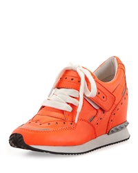 Ash Detox Ter Spiked Leather Wedge Sneaker Flourescent Peach Silver
