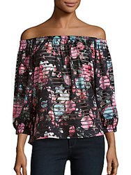 Romeo And Juliet Couture Floral Printed Striped Off The Shoulder Top Black Multicolor