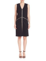 Josie Natori Jersey Panel Detail Dress Black