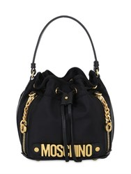 Moschino Mini Logo Lettering Nylon Bucket Bag