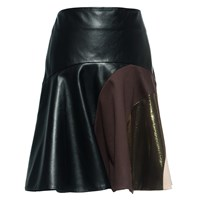 Leka Multi Tone Leather Skirt Black Brown