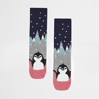 River Island Womens Navy Penguin Pair Print Socks