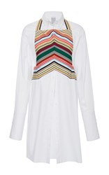 Rosie Assoulin Chevron Front Full Sleeve Button Down White Yellow Red