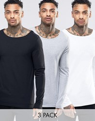 Asos Extreme Muscle Long Sleeve T Shirt With Boat Neck 3 Pack White Black Grey Multi