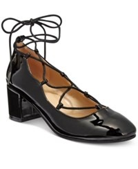 Wanted Abby Lace Up Block Heel Pumps Women's Shoes Black Patent