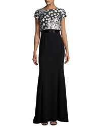 Theia Short Sleeve Dot Print Mermaid Gown Blk Taupe