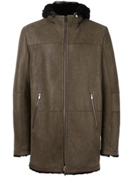 Drome Zipped Hooded Coat Brown