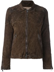 Giorgio Brato Distressed Effect Biker Jacket Brown
