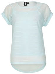 Izabel London Mesh Top With Horizontal Stripe Texture Blue