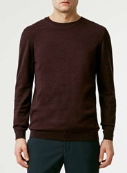 Topman Burgundy And Black Twist Crew Neck Jumper Red