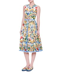 Dolce And Gabbana Sleeveless Maiolica Tile Print Cotton Dress Maiolica Ornament