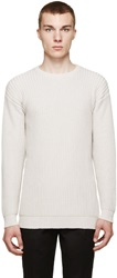 Versace Beige Ribbed Crewneck Sweater