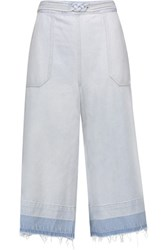 Sea Distressed Denim Culottes Light Denim