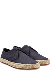 Burberry Collingdon Denim Lace Ups With Raffia