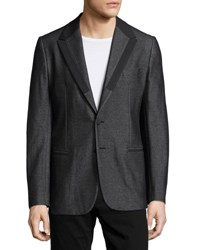 Dolce And Gabbana Textured Jacket With Satin Lapels Black
