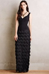 Anthropologie Fringed Sinope Gown Black
