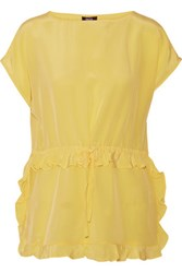 Raoul Prairie Ruffled Silk Crepe De Chine Top Yellow
