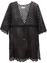 Tory Burch Perforated Drawstring Tunic Black