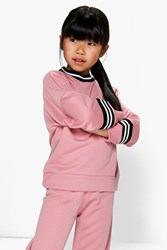 Boohoo Oversized Sports Sweat Jumper Rose
