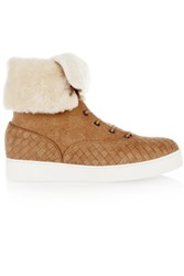 Bottega Veneta Shearling Lined Intrecciato Suede Sneakers Light Brown