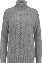 Vince Cable Knit Turtleneck Sweater Gray