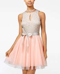 Teeze Me Juniors' Lace Tulle Fit And Flare Dress Grey Pink