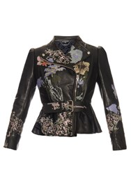 Alexander Mcqueen Cross Stitch Embroidered Leather Jacket Black Multi