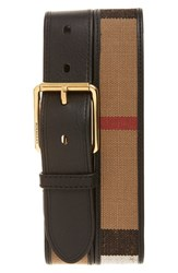 Men's Burberry Canvas And Leather Check Belt