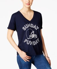 Retro Brand Game Day Graphic T Shirt Navy