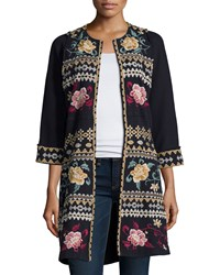 Johnny Was Aralyn Raw Seam Embroidered Coat Black