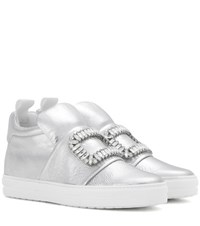 Roger Vivier Sneaky Viv Embellished High Top Metallic Leather Sneakers Silver