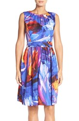 Petite Women's Ellen Tracy 'Kaleidoscope' Print Cotton Fit And Flare Dress Blue Multi