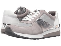 Michael Michael Kors Allie Trainer Silver Pearl Grey Mini Bike Mesh Sport Suede Nappa Women's Lace Up Casual Shoes Gray