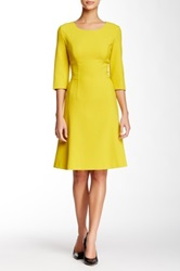 Hugo Boss Direne Fit And Flare Dress Yellow