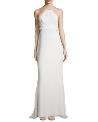 Halston Heritage Halter Back Cutout Cocktail Gown Bone