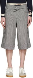Yang Li Black And White Houndstooth Linen Shorts