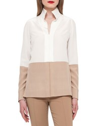 Akris Two Tone Silk Blouse W Buttons Moonstone Camel Moonstone Camel