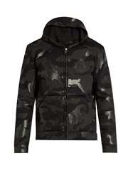 Valentino Rubberised Camouflage Print Hooded Sweatshirt Black