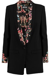 Just Cavalli Satin Trimmed Crepe Blazer Black
