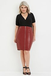 Forever 21 Plus Size Zipped Faux Leather Skirt Burgundy