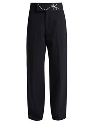 Toga Frog Embellished Straight Leg Twill Trousers Navy
