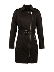 Morgan Cotton Piped Detail Trench Coat Black
