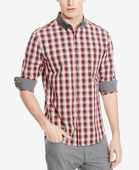 Kenneth Cole Reaction Men's Checked Contrast Trim Long Sleeve Shirt Bluebell Combo