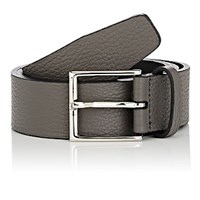 Barneys New York Men's Taurillon Leather Belt Grey