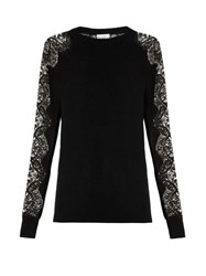 Raey Lace Sleeve Cashmere Sweater Black